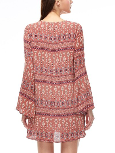 Lace Up Printed Bell Sleeve Dress - CORAL PINK S Mobile