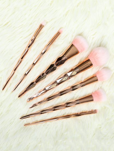 7 Pcs Rhombus Makeup Brushes Set - ROSE GOLD  Mobile