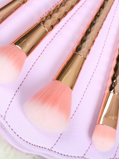 5 Pcs Rhombus Makeup Brushes Set - ROSE GOLD  Mobile