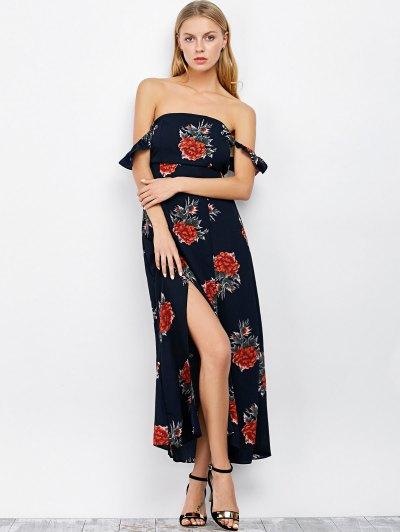 Maxi Off The Shoulder Floral Print Dress - PURPLISH BLUE M Mobile