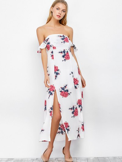 Maxi Off The Shoulder Floral Print Dress - WHITE S Mobile