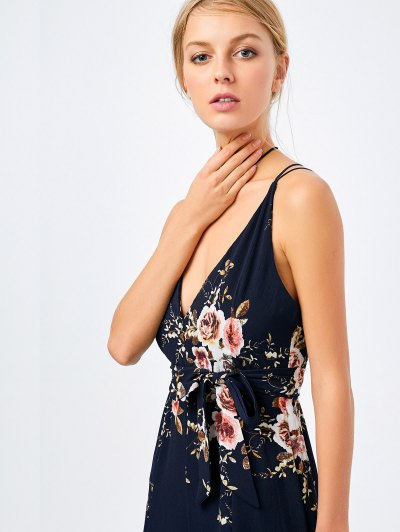 Maxi Floral Print High Slit Romper - BLACK S Mobile