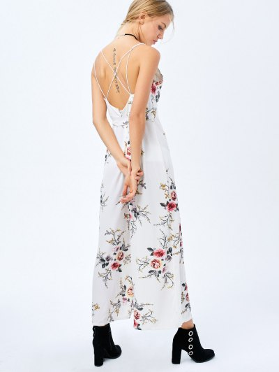 Maxi Floral Print High Slit Romper - WHITE XL Mobile