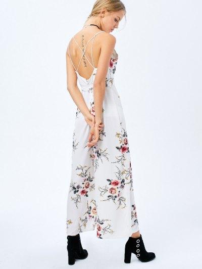 Maxi Floral Print High Slit Romper - WHITE M Mobile