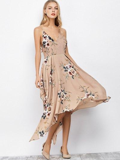Spaghetti Strap Floral Print Maxi Handkerchief Dress - APRICOT XL Mobile
