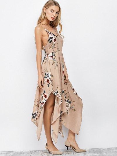 Spaghetti Strap Floral Print Maxi Handkerchief Dress - APRICOT L Mobile