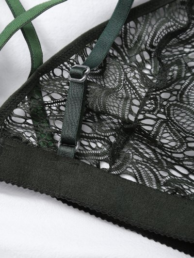 Crosscriss Cut Out Lace Bra - GREEN L Mobile