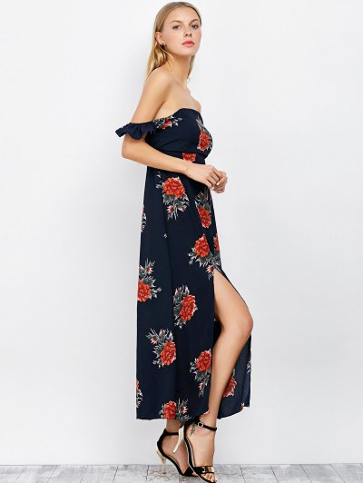 Maxi Off The Shoulder Floral Print Dress - PURPLISH BLUE L Mobile