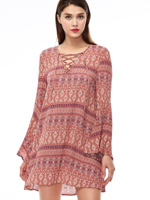 Lace Up Printed Bell Sleeve Dress - Coral Pink