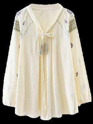 Raglan Sleeve Boho Embroidered Blouse - Beige