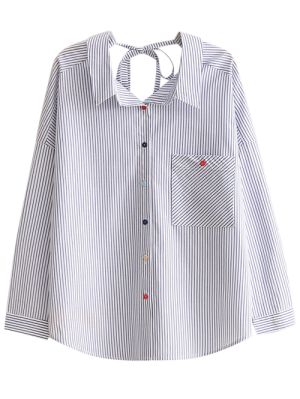String Striped Casual Shirt - Blue