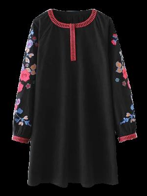 Vintage Floral Embroidered Mini Dress - Black