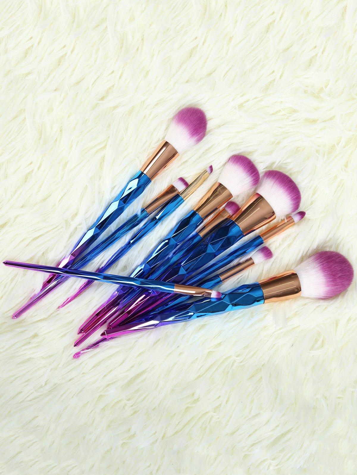 10 Pcs Fiber Ombre Makeup Brushes Set