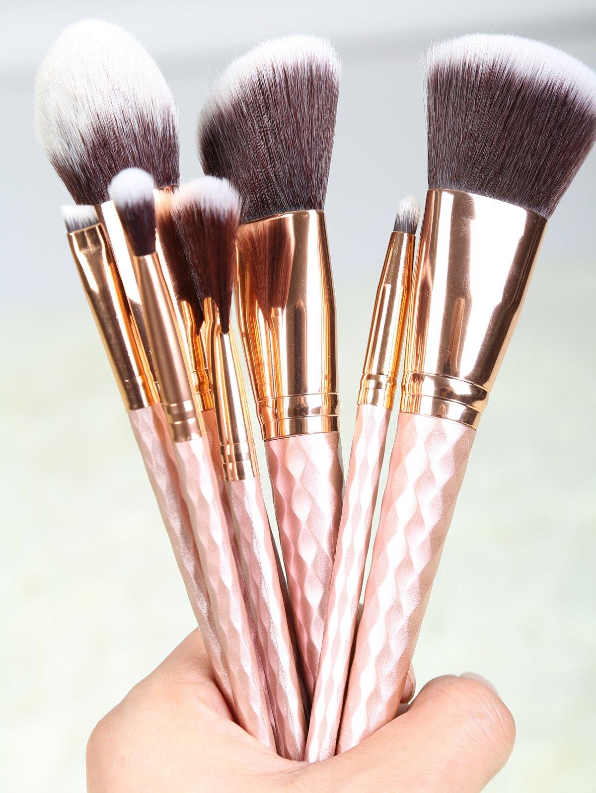 8 Pcs Rhombus Handle Fiber Makeup Brushes Set