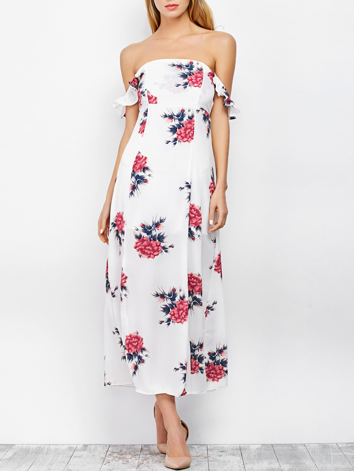 Maxi Off The Shoulder Floral Print DressClothes<br><br><br>Size: S<br>Color: WHITE