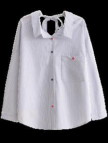 Cadena De Rayas Camisa Ocasional - Azul S