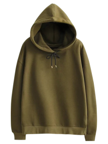 Side Slit String Hoodie - Green M