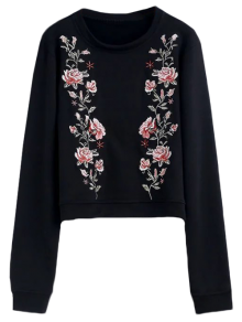 Relaxed Crew Neck Embroidered Sweatshirt - Black L