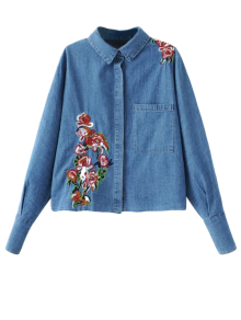 Oversized Embroidered Denim Shirt - Denim Blue M