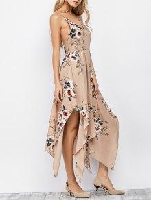 Spaghetti Strap Floral Print Maxi Handkerchief Dress - Apricot
