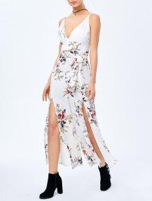 Combinaison Flissante Floral Criss Cross High Slit Maxi - Blanc L