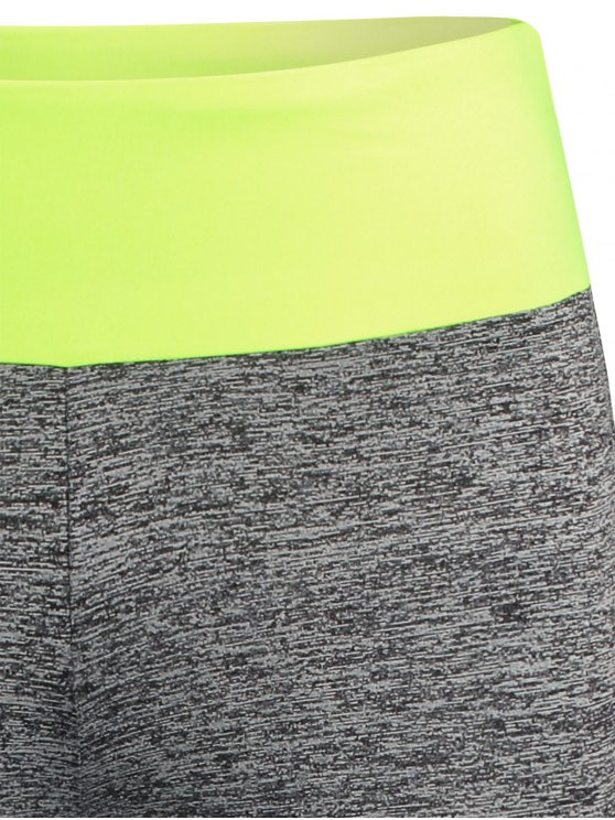 Space Dyed Color Spliced Leggings - NEON GREEN S Mobile