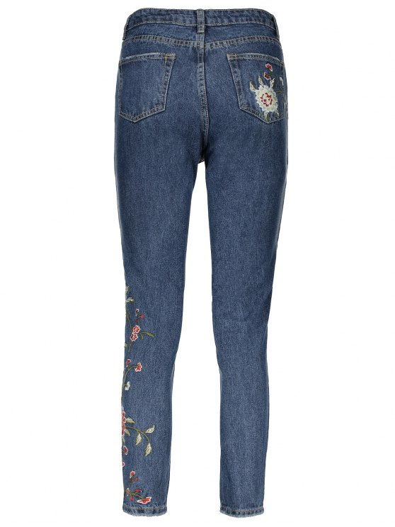 Floral Embroidered Relaxed Fit Jeans - BLUE L Mobile