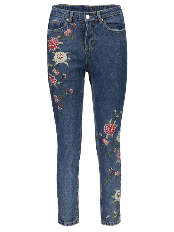 Floral Embroidered Relaxed Fit Jeans - BLUE M Mobile