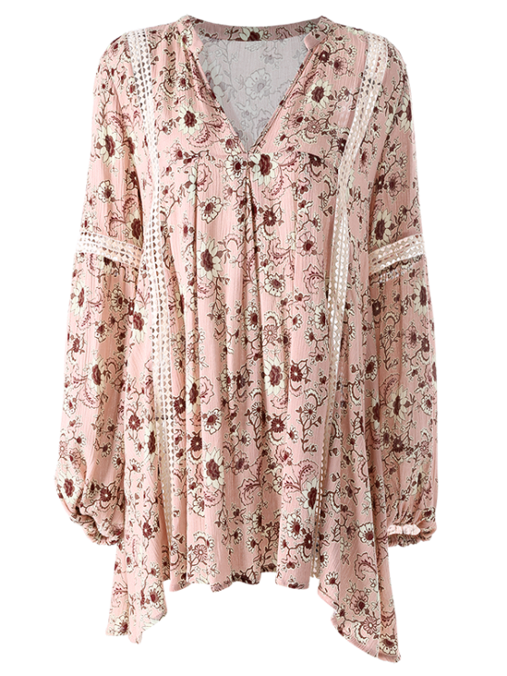 Floral Print Boho Swing Dress - PINK S Mobile