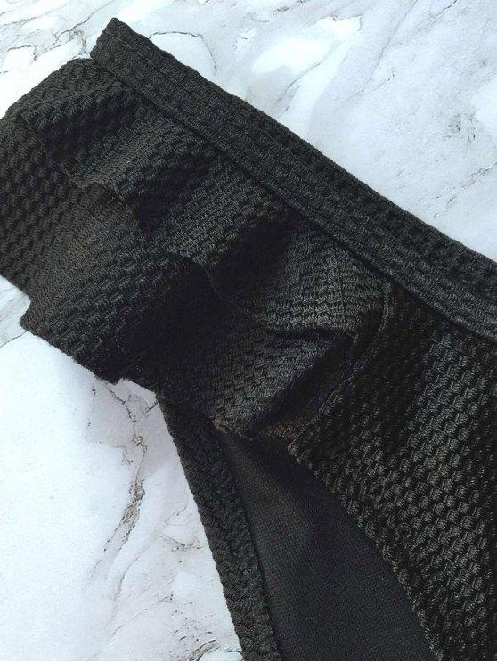 Cami Ruffles Push Up Bikini Set - BLACK S Mobile