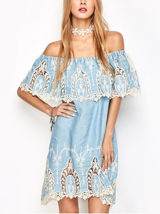 Ganchillo superpuesto con el vestido de hombro - Azul claro M