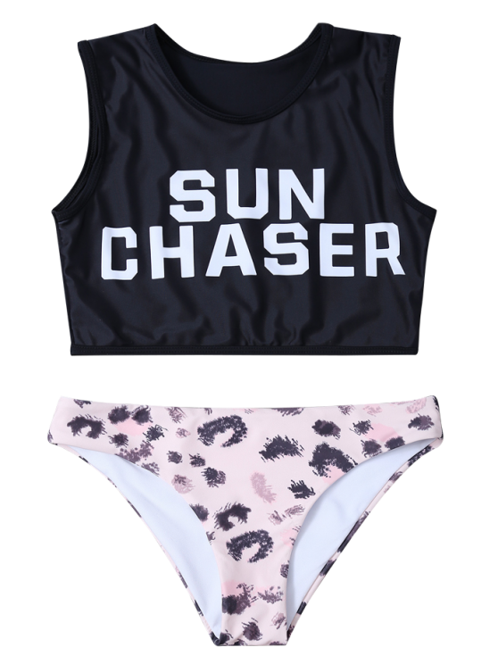 Letter Top with Printed Briefs Bralette Swimsuits - BLACK M Mobile