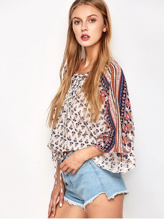 Lace Up Dolman Sleeve Blouson Top - OFF-WHITE M Mobile