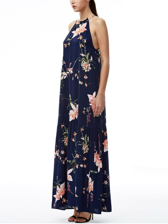 Maxi Floral Beach Dress - PURPLISH BLUE L Mobile