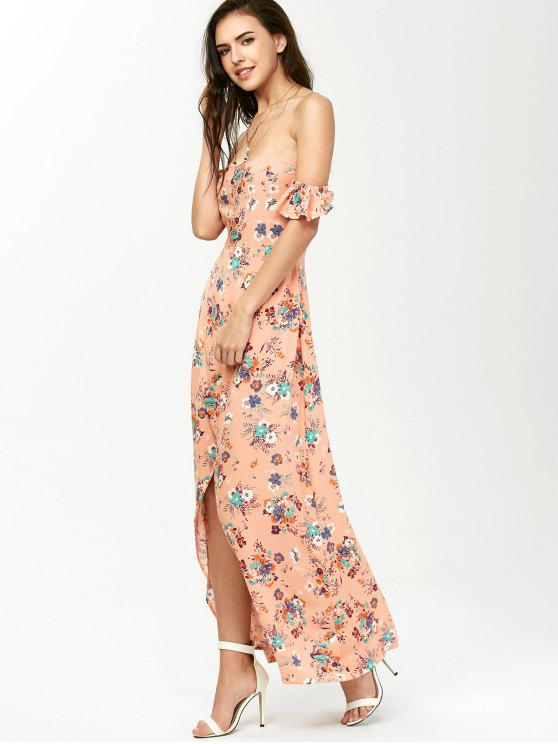 Off The Shoulder Maxi Floral Slit Dress - ORANGEPINK M Mobile