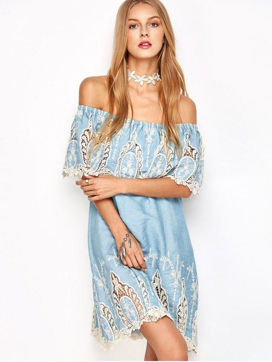 Crochet Off The Shoulder Overlay Dress - LIGHT BLUE L Mobile