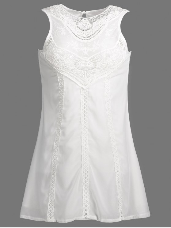 Spliced Openwork White Chiffon Dress - WHITE S Mobile