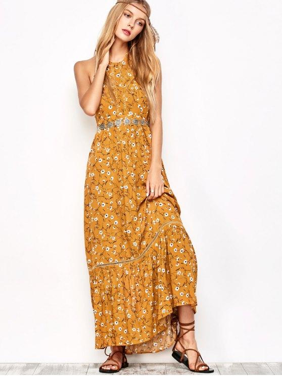 Halter Maxi Tiny Floral Beach Dress - YELLOW OCHER M Mobile