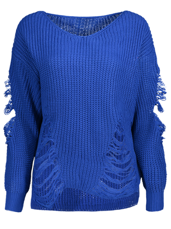 Loose Pullover Distressed  Sweater - BLUE L Mobile