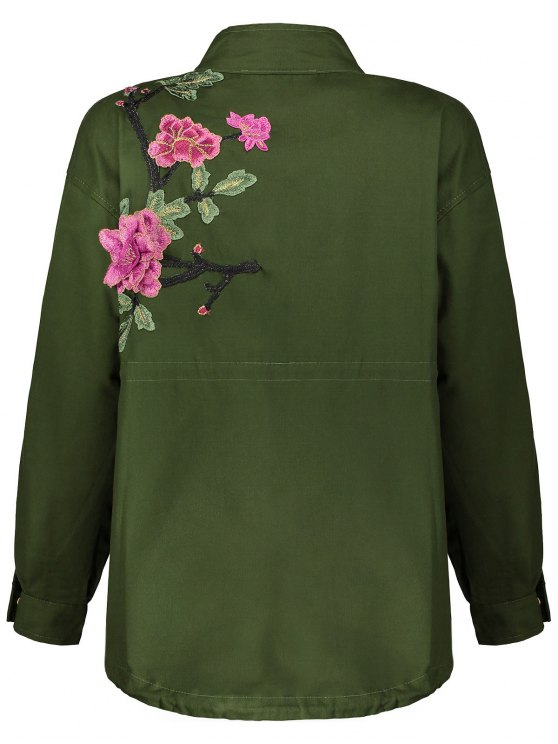 Floral Embroidered Utility Jacket - ARMY GREEN M Mobile