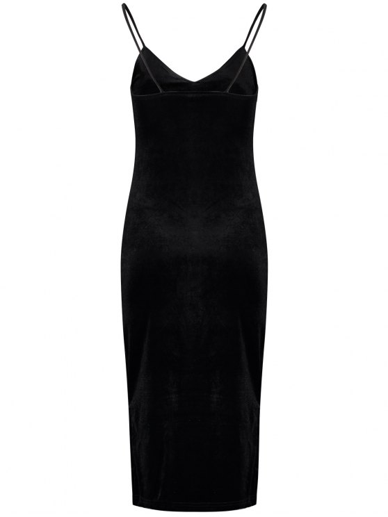 Side Furcal Velour Slip Dress - BLACK ONE SIZE Mobile