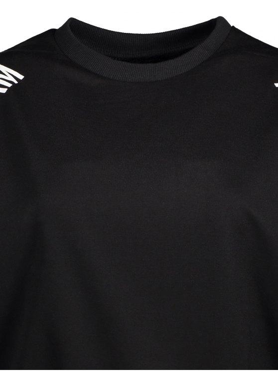 Cold Shoulder Text Print Sweatshirt - BLACK L Mobile