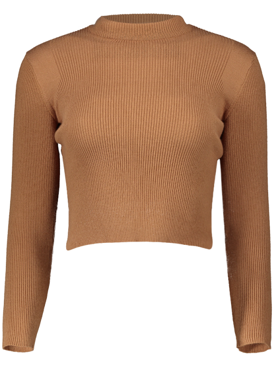 Mock Neck Cropped Pullover Sweater - EARTHY ONE SIZE Mobile