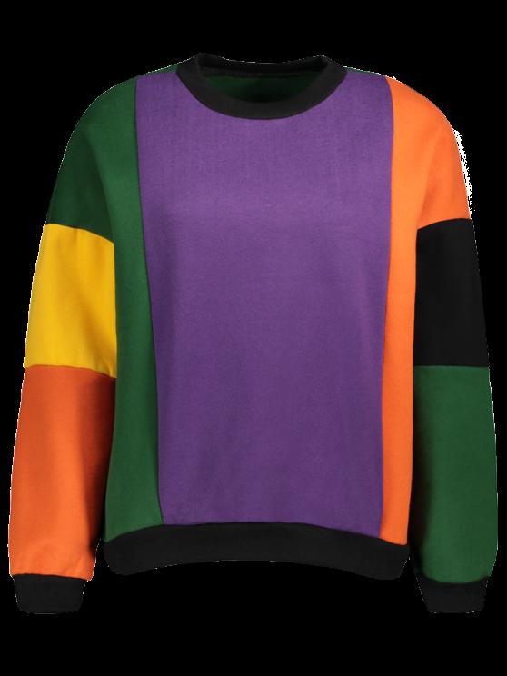 Fleece Color Block Sweatshirt - PURPLE ONE SIZE Mobile