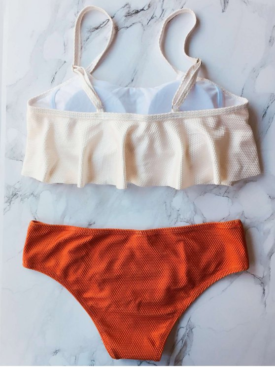 Color Block Covered Bikini Set - ORANGE XL Mobile
