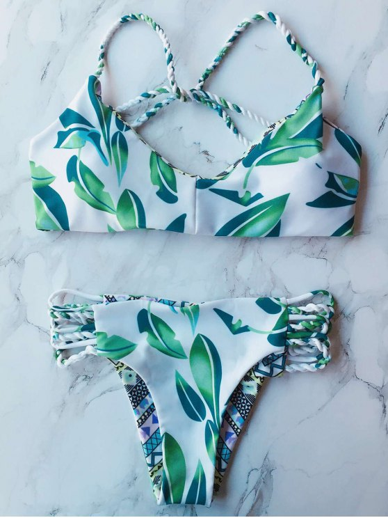 Printed Double Side Bikini Set - GREEN L Mobile