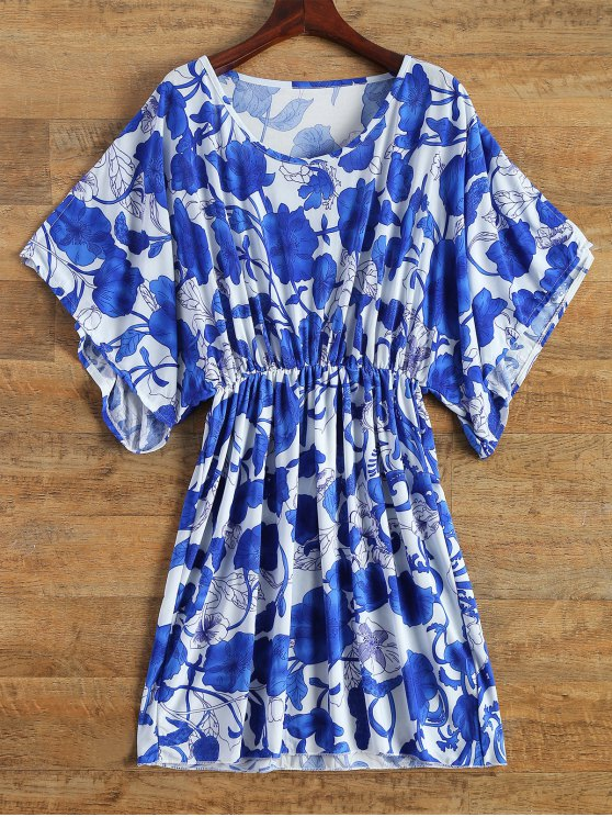 lady Porcelain Print Vintage Midi Dress - BLUE AND WHITE ONE SIZE(FIT SIZE XS TO M)