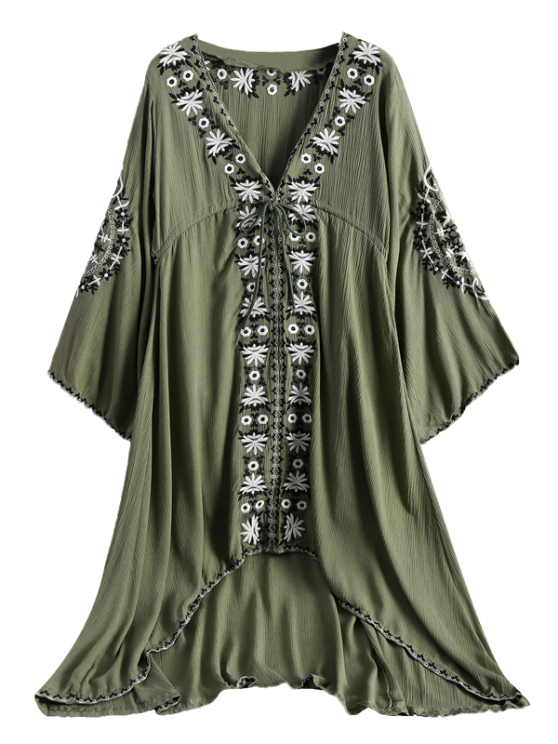 shops Embroidered Empire Waist Boho Dress - ARMY GREEN M