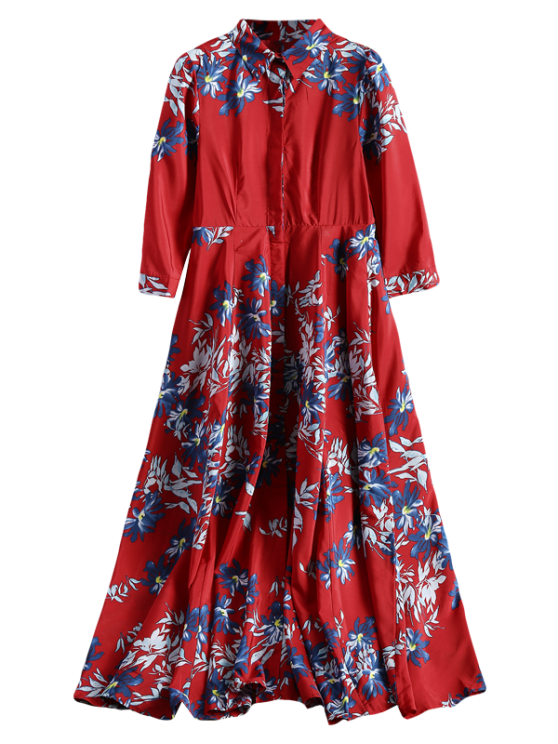 lady Maxi Button Up Floral Shirt Dress - RED M