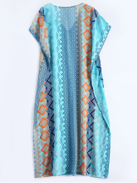 Geometric Print Chiffon Kaftan Cover Up - LAKE BLUE  Mobile